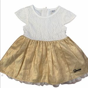 NEW Guess 6-9M Girls White/Gold Formal Dress